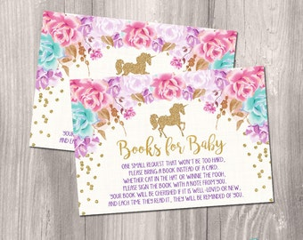 INSTANT DOWNLOAD - Bring a book inserts, unicorn bring a book, unicorn baby shower books for baby, gold unicorn glitter printable DIY file