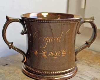 Year 1852 double handles goblet English  Lustreware /Copper lusterware double handle mug dated 1852