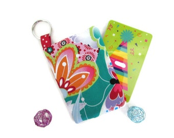 Flower Cardholder with Keychain Minimalist Card Holder Credit Card Case Keyring Wallet Business Cardholder Gift for Her Japanese Girl Lotus