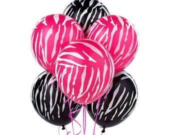 Pink & Black Zebra Print Latex Balloons - 80's Party Decoration and Photo Prop! Fun Colorful Eighty's Birthday Party Decor! Set of 6