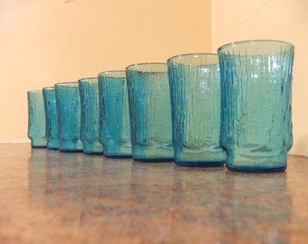 Set of Eight (8) Vintage 1950s Anchor Hocking Laser Blue Pagoda Tree Bark Juice Glasses