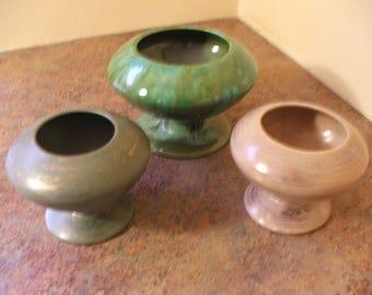 Trio of Vintage 1960s Freeman McFarlin Modern Fine Arts California Pottery Vases