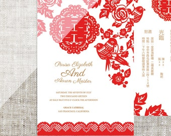 DIY Printable Chinese Wedding Celebration Invitation Card Template Instant Download Red Birds Paper Cut With