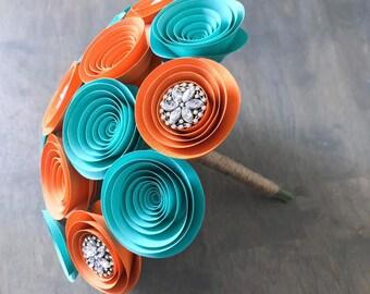 Wedding Bouquet - Bridal Bouquet - Paper Flower Bouquet - Orange Flowers - Teal Wedding Flowers - Bridesmaids Flowers - Wedding Ideas
