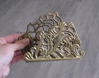 Vintage Brass Napkin Holder / Letter Holder