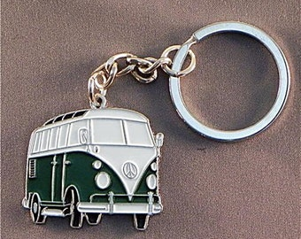 New Retro vintage VW combi bus keychain camper van rockabilly pin up 70's hippie volkswagen kustom low riding made in england