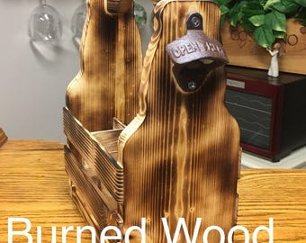 Handcrafted Wood Six Pack Tote