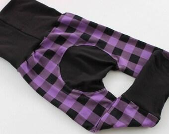 Purple Plaid Leggings ~ Lumberjack kids ~ Hipster kids ~ Hipster Maxaloones, Plaid Grow with Me Pants, Plaid Maxaloones, 5 Colors, NB to 5