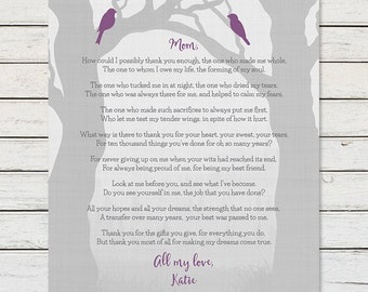 MOM WEDDING THANK You Gift, Brides Mother Gift, Mom Birthday Gift, Mothers Day Gift, Gift Print for Mom from Daughter, Mother Poem, Mom Poem