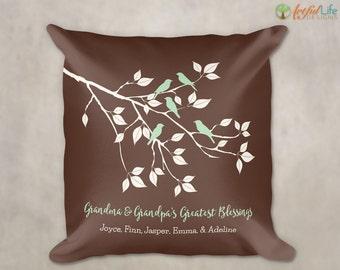 GIFT for GRANDMA, Gift from Grandkids, Grandchildren Pillow, Gift for Grandparents, Grandma & Grandpa's Greatest Blessings Pillow