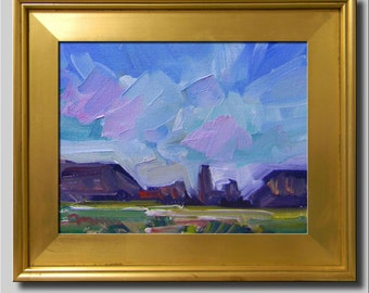 Plein Air Landscape Painting, Impressionist Oil Painting, Landscape, Hills Painting, Field Painting, Trees Painting, Abstract Painting