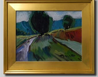 Plein Air Landscape Painting, Impressionist Oil Painting, Mountain Painting, Hills Painting, Green Painting, Road Painting