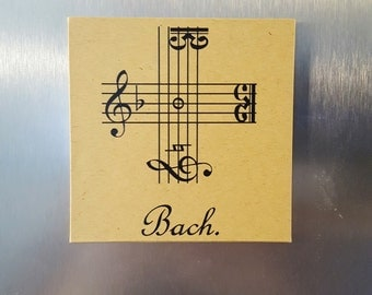 Bach Signature Cross Magnet or Ornament (Bach's name spelled in musical notation)