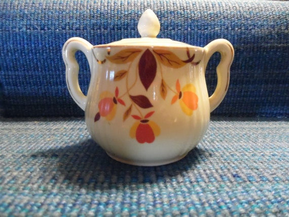 Autumn Leaf China Rayed Sugar Bowl with Lid