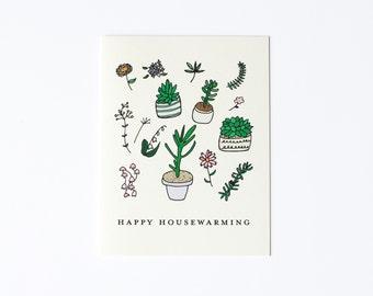 Happy Housewarming Card, Plant Card, New House Card, New Home Card