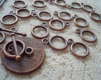 Promotion! 40 Sets Tiny Toggles. Antique Copper 10x14mm Hoop & 16mm Tbar. Lovely Old-Penny Antiqued Copper Clasps.  ~USPS Ship Rates/ Oregon