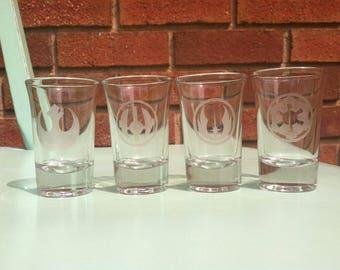 Star Wars Etched Glass Shot Glasses