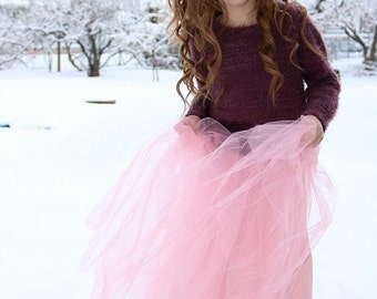 Girls' Dusty Rose Pink Tulle Midi Skirt Sizes 2/3, 4/5, 6/6X, 7/8, 10/12 Ready to Ship