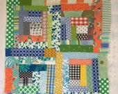 """RESERVED for Heidi: Custom baby boy quilt in brightly colored log cabins! 45"""" x 60"""""""