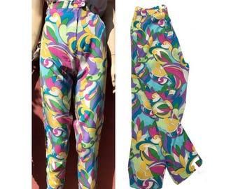 1960s PsyCheDelic  Neon Floral Hippie Pants // size eu 38-uk 10 -us 6