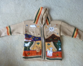 Size 6 Child's alpaca sweater, hand knitted and embroidered in Peru