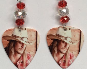 1 Pair- Kid Rock Guitar Pick Earrings