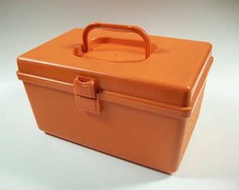 Vintage Orange Sewing Box, Plastic Storage Container or Craft Box, Vintage Sewing Box, Vintage Wilson Wil-hold Sewing Box with Tray
