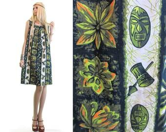 TIKI MASK 60s hawaiian dress luau dress polynesian dress vintage 60s dress green waikiki dress pineapple dress tribal dress ethnic dress s m