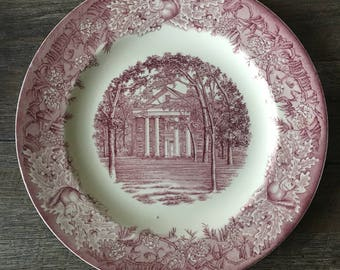 Vintage Wedgwood China Collectors Plate, Alabama College Reynolds Hall, University of Montevallo | pink transferware plate, red transferware