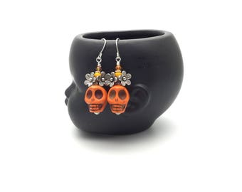 Sugar skull earrings, sterling silver skull earrings, orange skull earrings, day of the dead jewelry, mexican earrings, frida kahlo jewelry,