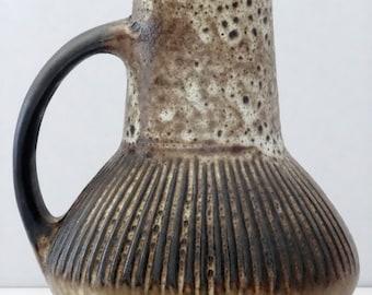Carstens Mid Century Brown Beige Incised West German Vase