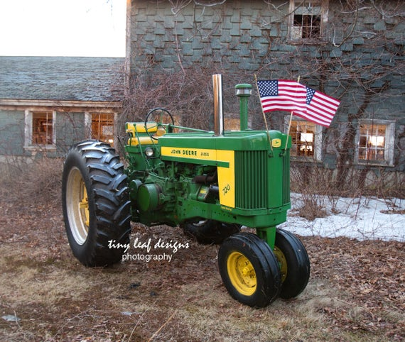 John Deere Tractor American Flag Old Barn Sutton, MA 5x7 8x10 11x14