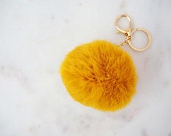 Mustard Yellow Faux Fur Fuzzy Keychain
