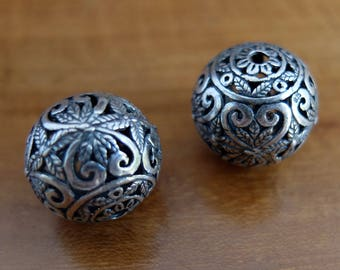 Two Vintage Sterling Silver Turkish Beads