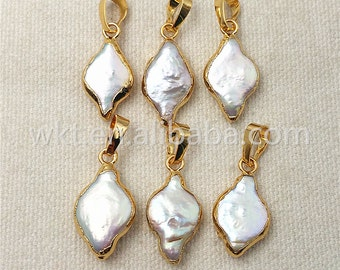 WT-P971 All Match Pearl Jewelry,Wholesale Natural Freshwater Pearl Charm Pendant,High Grade 24k Real Gold Dipped Loop Pearl Pendant