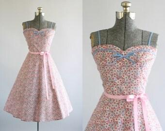 Vintage 1950s Dress / 50s Cotton Dress / Pink Polkadot Dress w/ Sweetheart Neckline L