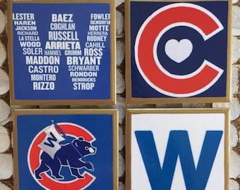 COASTERS! Fly the W Chicago Cubs coasters with gold trim