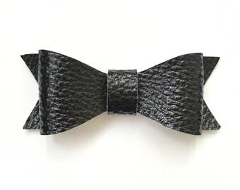 Black Faux Leather Bow, Faux Leather Hair Bow, Black Hair Bow, Hair Clip