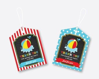 Instant Download, Beach Ball Favor Tags, Beach Party, Pool Party, Beach Birthday Tags, Thank You Tags, Gift Tags, Red, Chalkboard (CKB.108)