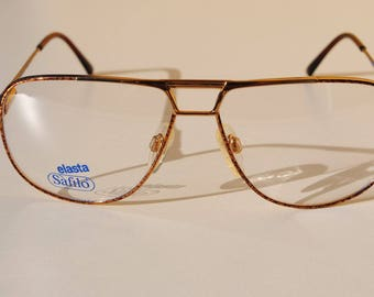 vintage SAFILO SPORTING 3668 21P 57-13 140  marbled bronze brown gold double bridge aviator eye/sunglasses frame made in Italy New