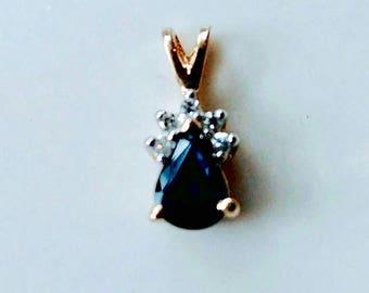 Sapphire and Diamond 14k Yellow Gold Pendant