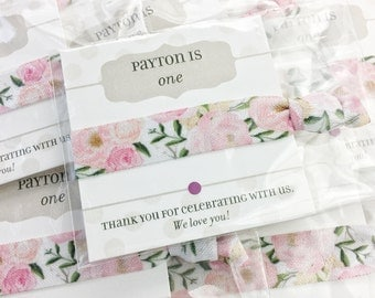 Floral Birthday Party Favors Girls, First Birthday Favors, Hair Tie Birthday Party Thank You Gifts, Birthday Party Decorations