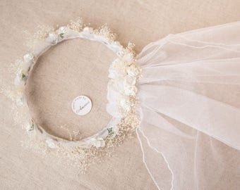 Bridal Hair Accessories, IVORY Flower Wreath, Wedding veil, White Veil, Ivory bridal veil, Velo de novia