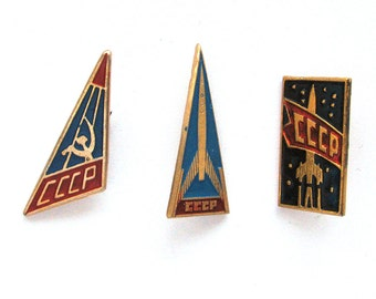 Set of 3 Soviet Space Badges, Vintage metal collectible badge, Spacecraft, Soviet Pin, Vintage Badge, Made in USSR, 1970s