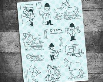 Horse stamps, horseback riding stamps, equestrian stamps,  rubber stamps, horse rubber stamps, Starving Artistamps
