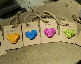 Crochet heart gift tags in brights