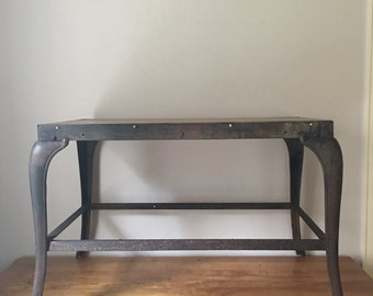 Vintage industrial cast iron and oak table with cabriole legs