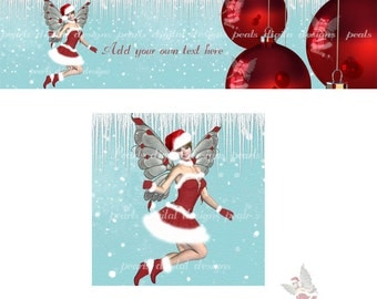 Holiday Fairy, Cover and shop icon, instant download, blank, fairy, wee one, Christmas bulbs red white, premade, fairy wings Christmas theme