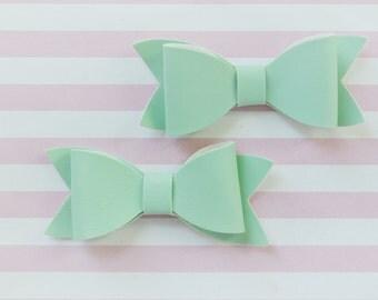 83mm Pastel Mint Green Vegan Leather Bow - set of 2
