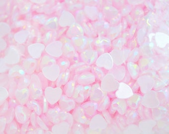 6mm AB Jelly Iridescent Pastel Pink Kawaii Heart Rhinestone Flatback Resin Decoden Cabochon- 100 piece set